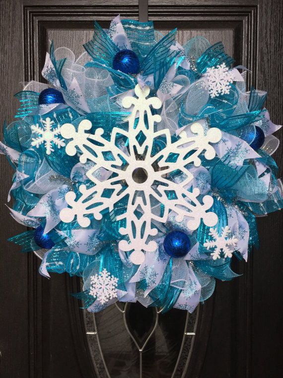 Blue Snowflake Christmas Wreath