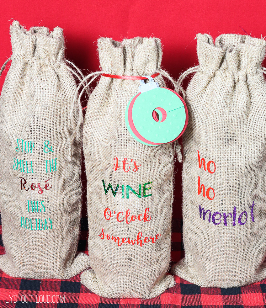 Fun DIY Wine Gift Bags and charms - great hostess gift idea!