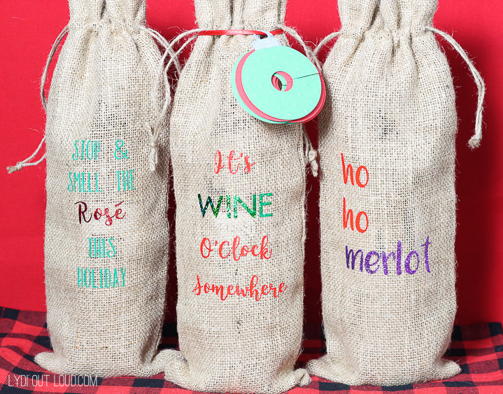 DIY Wine Gift Bags - such a great hostess gift or Christmas party idea!