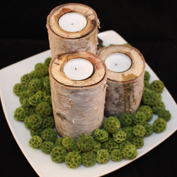 Such beautiful birch candle holders!