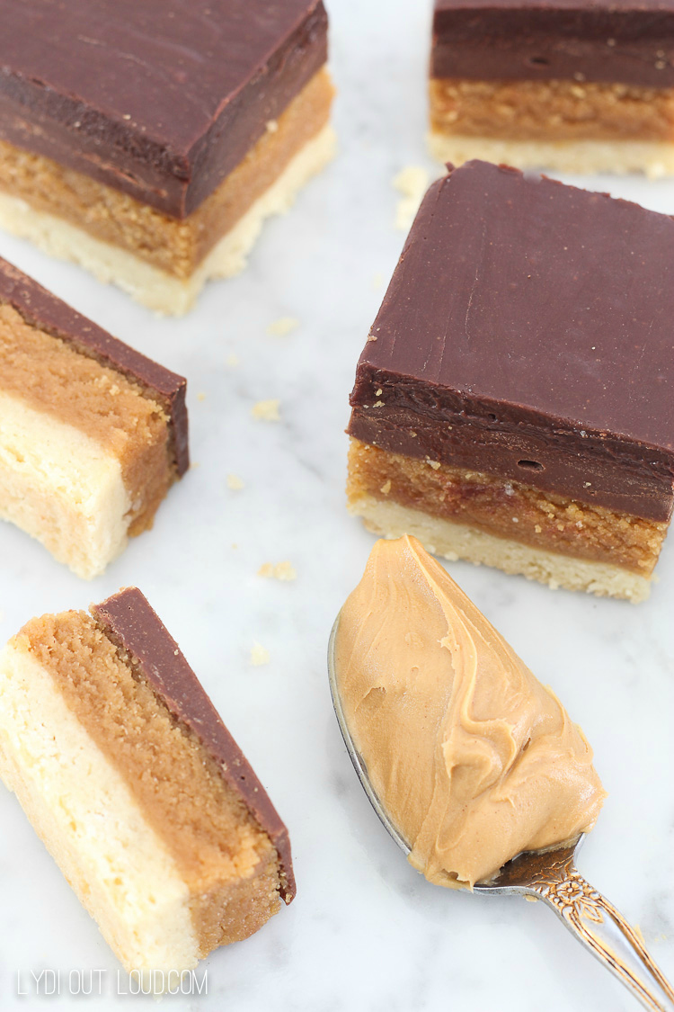 Buckeye Bars with Shortbread Crust