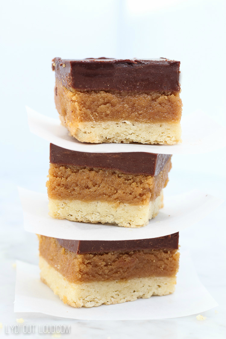Buckeye Bars with Shortbread Crust are such a delicious spin on a classic candy recipe!