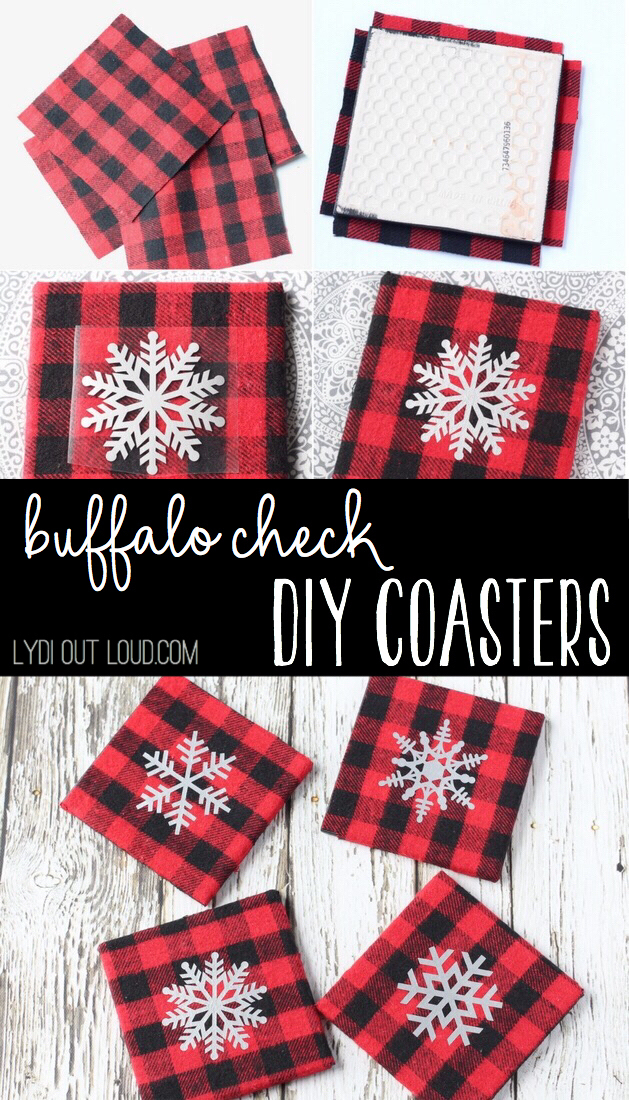 These DIY Buffalo Check Coasters are the perfect winter/holiday decoration!