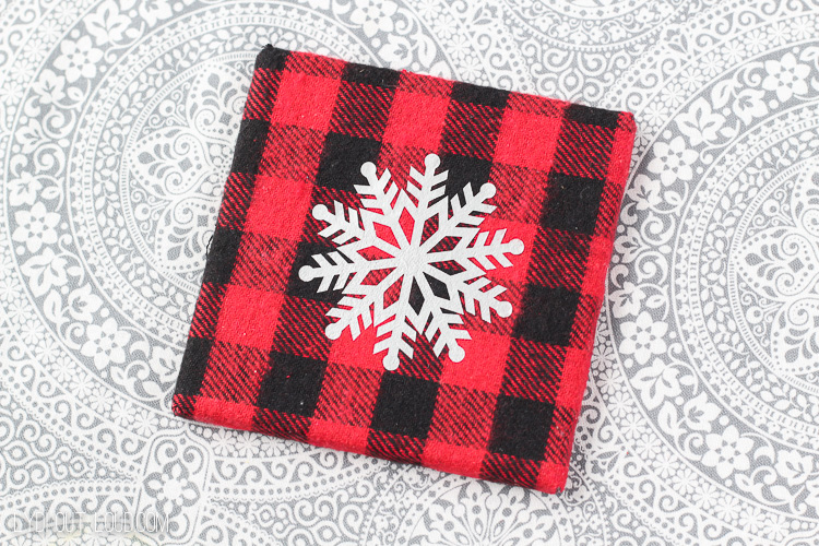 DIY Buffalo Check Flannel Snowflake Coasters