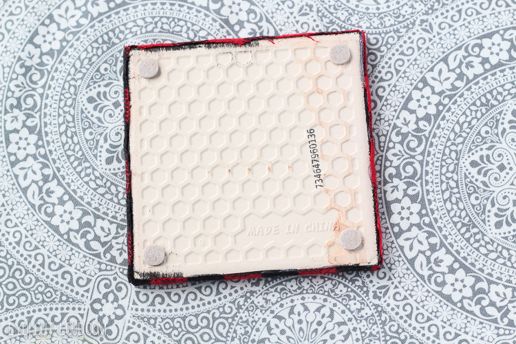 Use felt pads on the bottom of tiles for DIY coasters