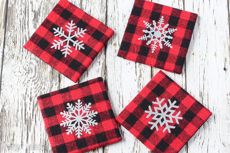Snowflake Buffalo Check DIY Coasters