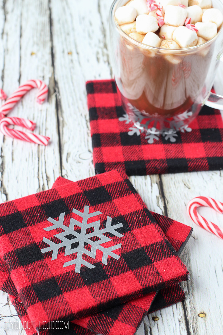 These DIY Buffalo Check Flannel Snowflake Coasters are so cute for Christmas and would make great gifts!