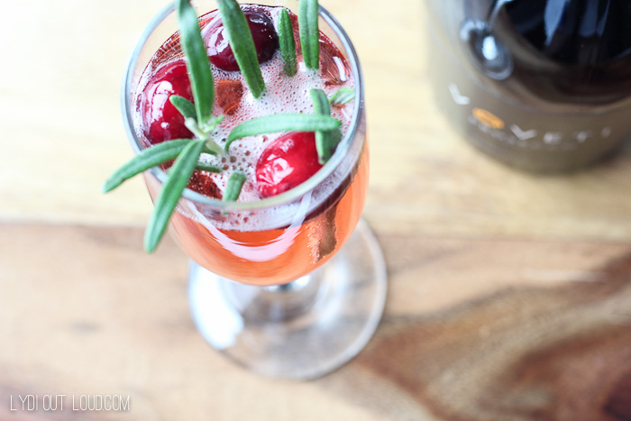 Rosemary-cran Bellini - such a delicious holiday cocktail!
