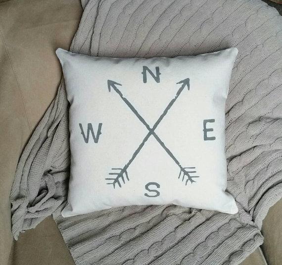Compass Pillow - such a cute Fixer Upper look!