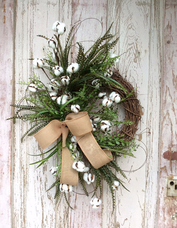 This preserved cotton wreath is is just gorgeous!