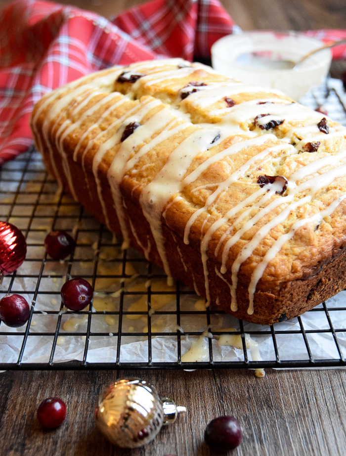 The glaze on the Eggnog and Cranberry Bread is my favorite!