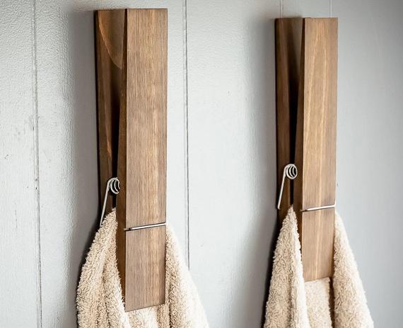 Jumbo Clothespin Bathroom towel rack