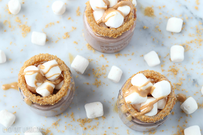 Fluffer Nutter Butter Hot Cocoa Shooters - such a fun holiday party cocktail!