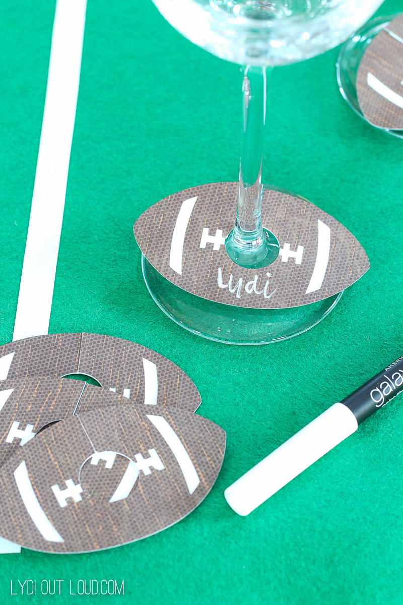 Football wine charms - these are so fun for a football party!