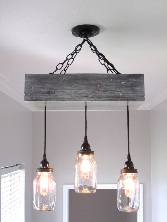 I want this Rustic Mason Jar Chandelier!