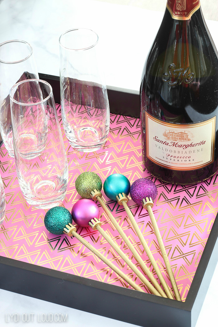These festive DIY Cocktail Stirrers are made out of chopsticks!