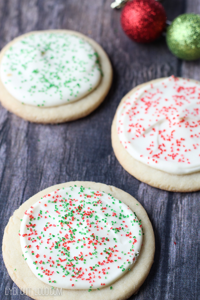 delicious sugar cookies with creme fraiche frosting