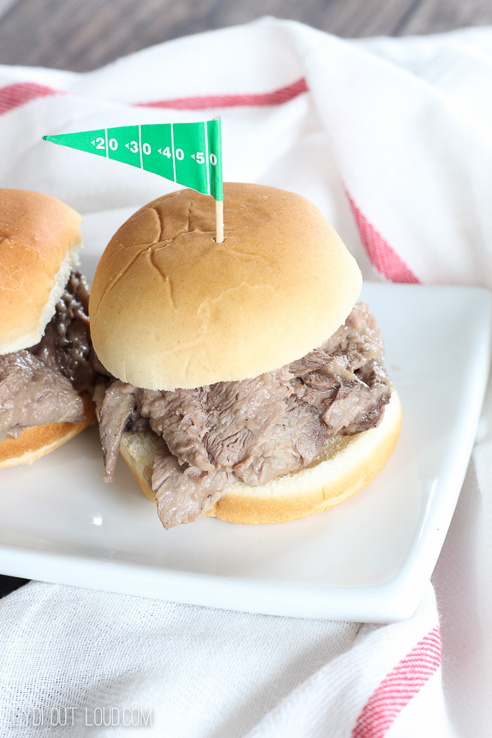 Slow Cooker Beer Braised Pot Roast Sliders - perfect for game day!