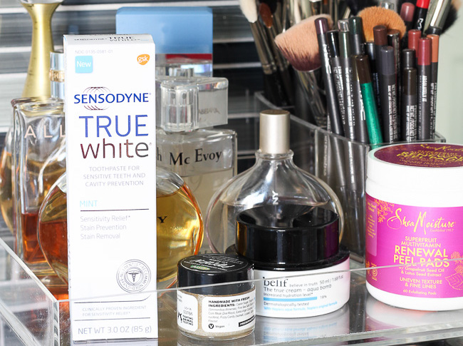 This is my beauty routine on one neat little tray!
