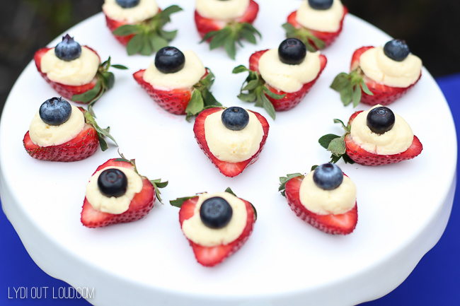 Cheesecake stuffed strawberries with blueberries