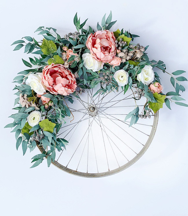 Peony Bicycle Wheel Wreath