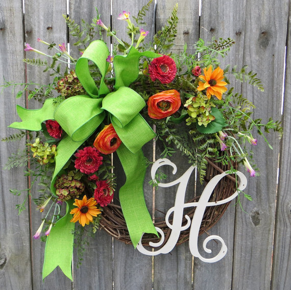 Monogram summer wreath