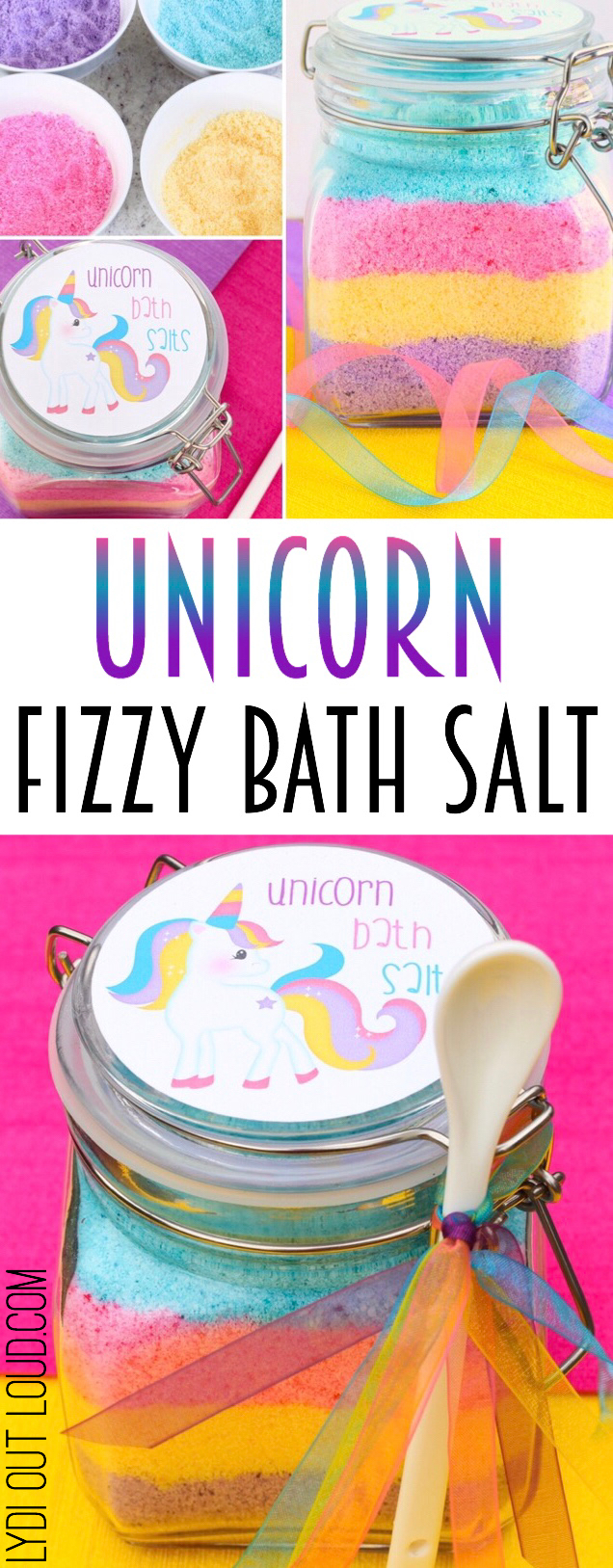 Unicorn Fizzy Bath Salts - these are so cute! #unicorncrafts #partyfavors #diygiftideas via @lydioutloud