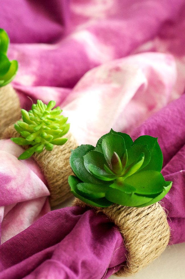DIY Succulent Napkin Rings and Shibori napkins - Two Purple Couches