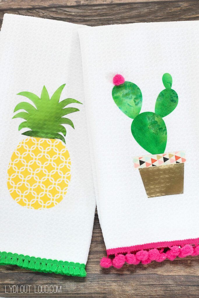 No-Sew Pineapple & Cactus Summer Kitchen Towels with Cricut