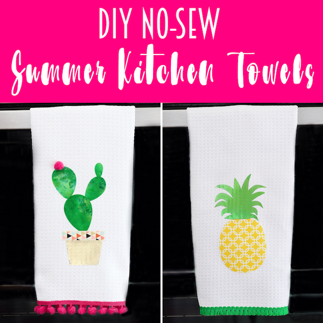 No-Sew Pineapple & Cactus Summer Kitchen Towels