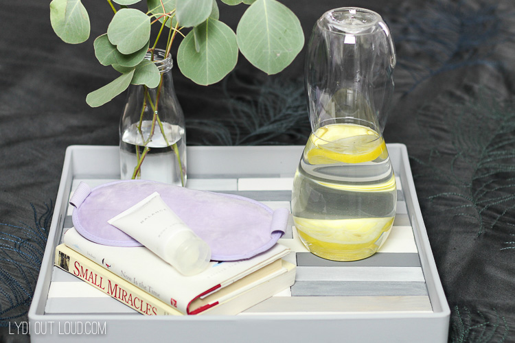 Slatted Tray styling for guest room
