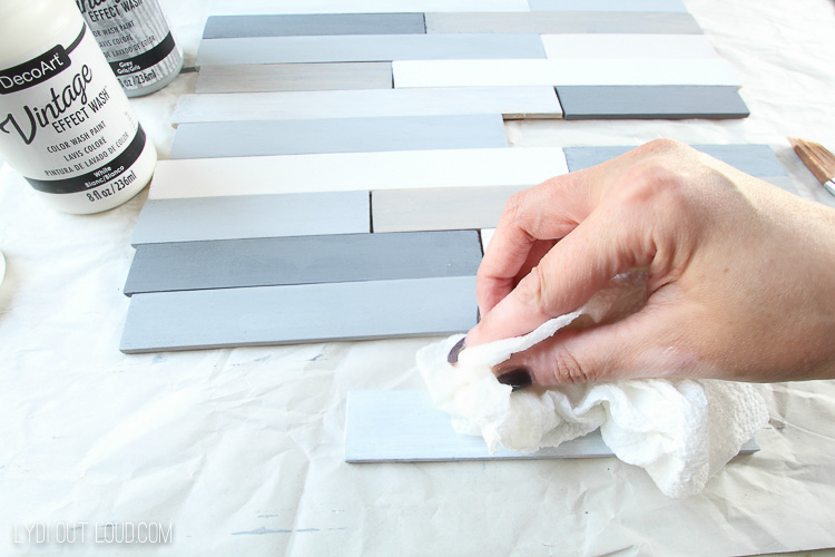 Wipe away some paint for vintage effect slatted tray