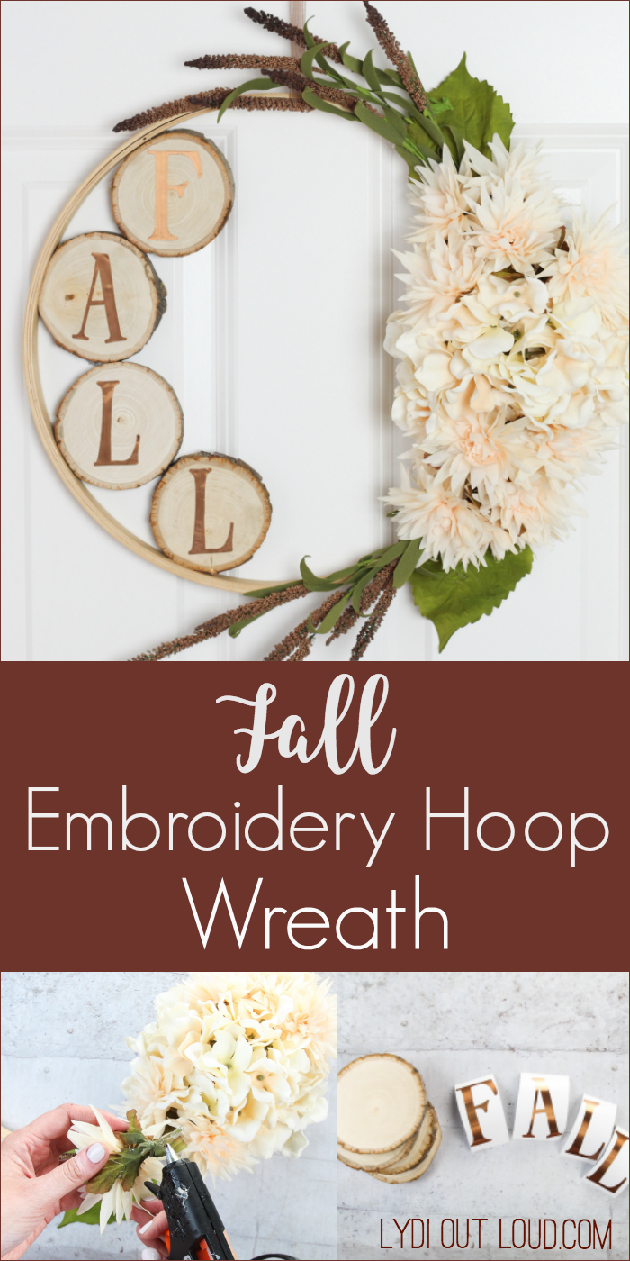 Beautiful Fall Wood Slice Embroidery Hoop Wreath