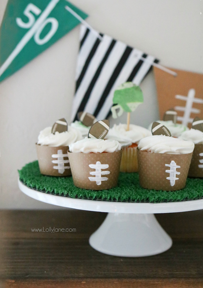 DIY Football Cupcake Wrappers for Football Party