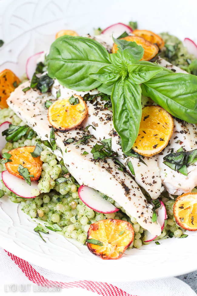 Basil Couscous Salad with Citrus Roasted Chicken