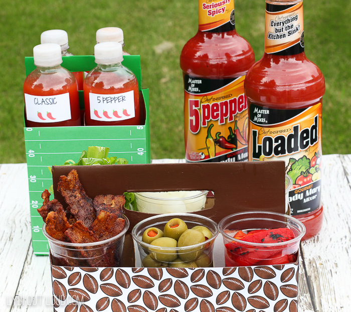 Delicious and portable Bloody Mary Bar - perfect for tailgating or picnics!