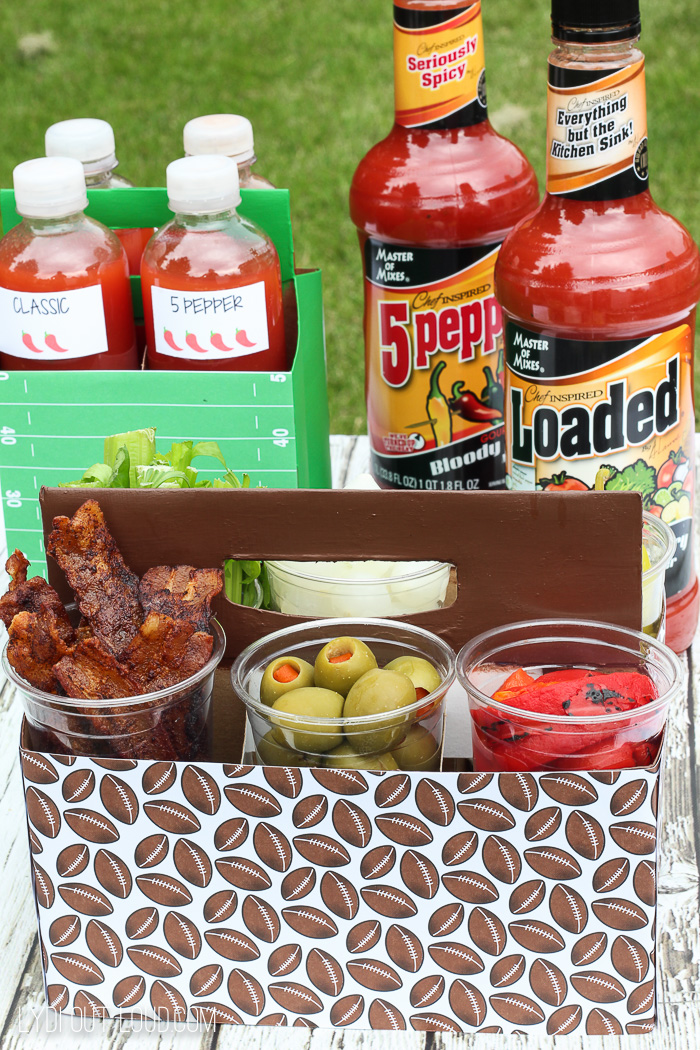 A Bloody Mary Bar To-Go is perfect for a picnic, party or tailgate!