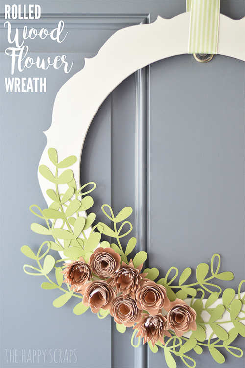 Rolled Wood Flower Wreath - The Happy Scraps