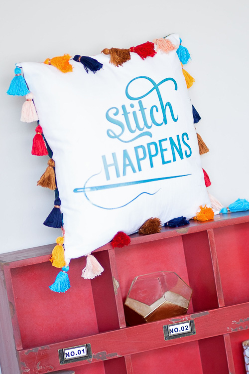 Stitch Happens Pillow - Sweet Red Poppy
