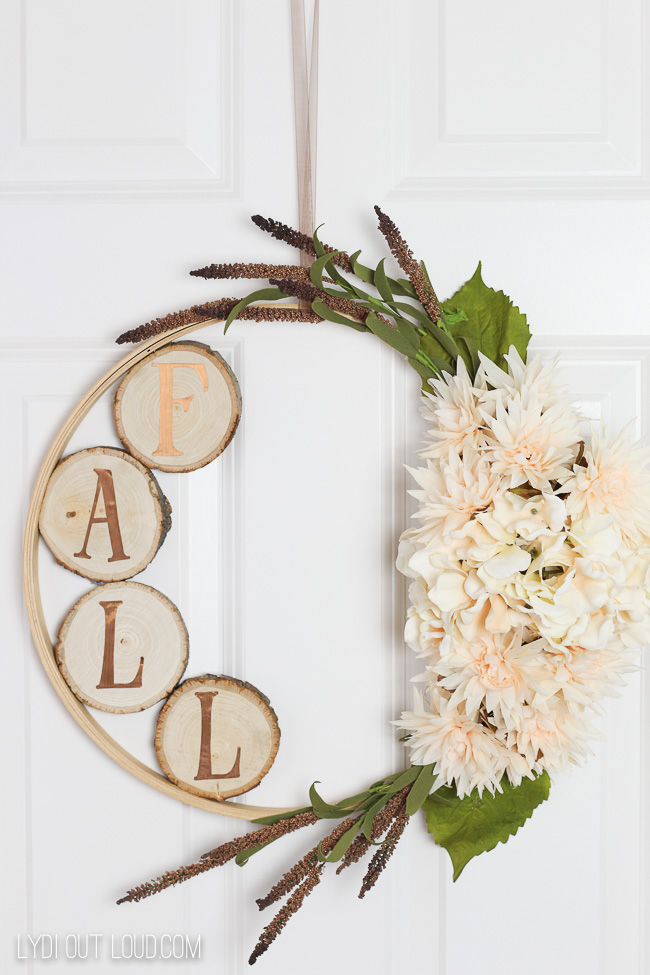 Hydrangea and Wood Slice DIY Embroidery Hoop Fall Wreath