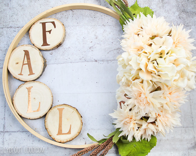 Fall Embroidery Hoop Wreath with Wood Slices