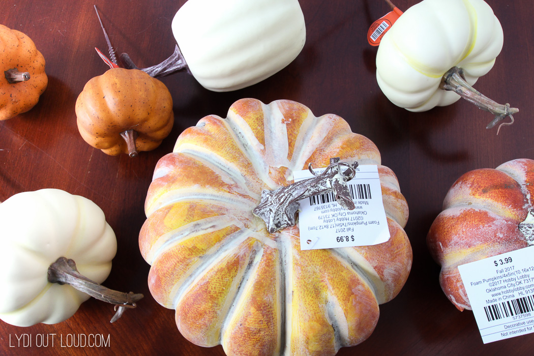 Hobby Lobby pumpkins for Farmhouse Glam Fall Centerpiece