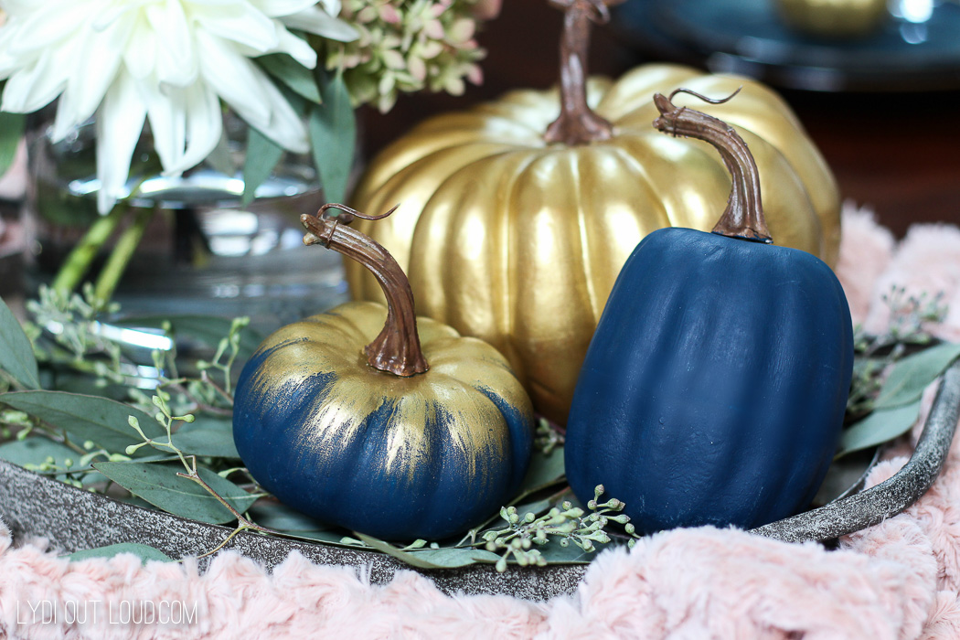 Gilded and Navy Pumpkins in Farmhouse Glam Fall Centerpiece