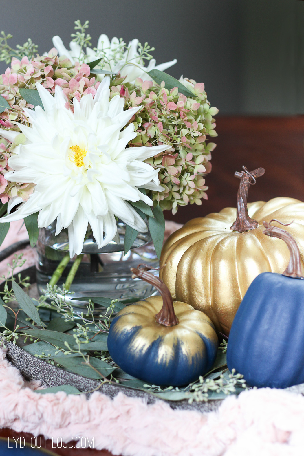 Beautiful floral and pumpkin Farmhouse Glam Fall Centerpiece
