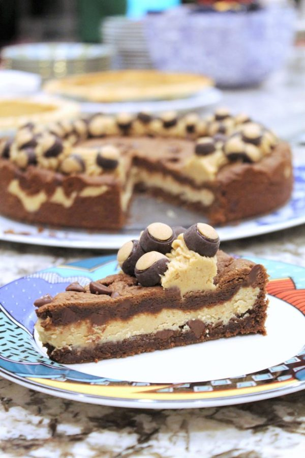 Amazing Buckeye recipes - Buckeye Stuffed Chocolate Peanut Butter Cookie Cake
