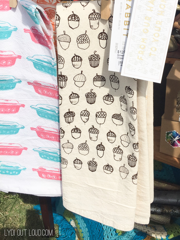 Cute tea towels from the Columbus Country Living Fair