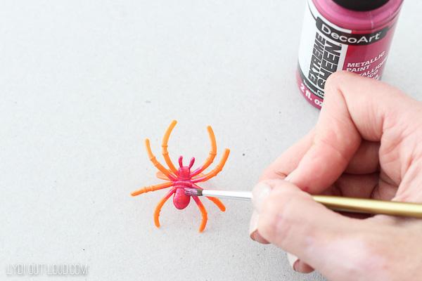 Metallic painted Spider Halloween Wine Charms