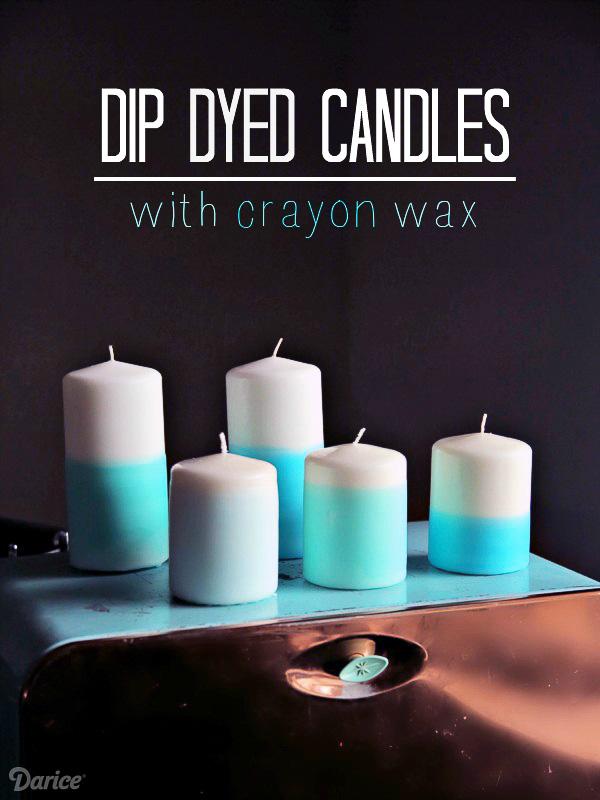 Crayon Wax Dip Dyed Candles