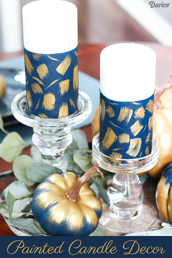 Navy and Gold Brush Stroke Painted Candles