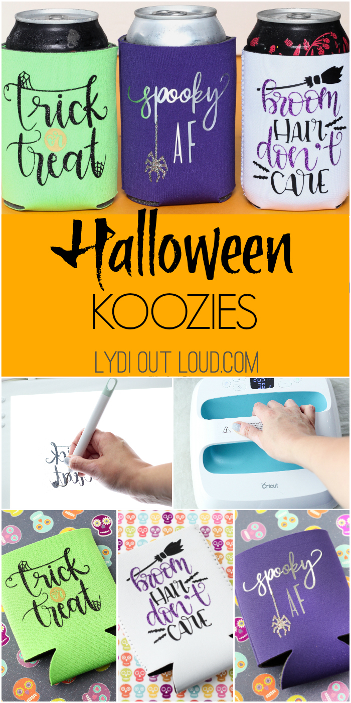 DIY Halloween Koozies - such a fun craft using iron-on vinyl! These would be great for Halloween BOO neighbor gifts!